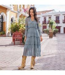 sundance catalog women's ellery lace dress in dusty blue 2xl