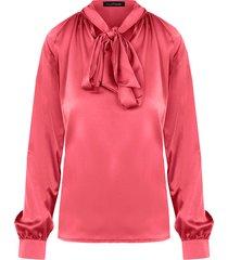 zijden blouse met strik koraal