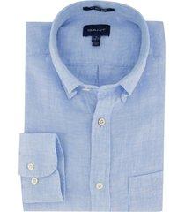 gant linnen overhemd lichtblauw regular fit