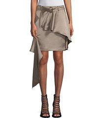 asymmetric khaki mini skirt