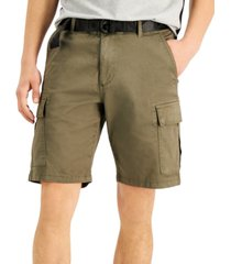 dkny men's grand stretch cargo shorts with d-ring logo belt