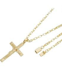 pingente crucifixo com corrente cartier gaveta tudo joias folheado a ouro 18k