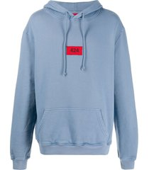 424 box logo cotton hoodie - blue