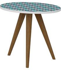 mesa lateral 400 branco/estampa azul be mobiliã¡rio - azul - dafiti