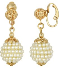 2028 gold-tone beaded imitation pearl drop earrings