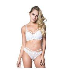 conjunto click chique lingerie strappy bra em microfibra lisa com renda branco