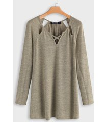 beige criss-cross plain scoop neck long sleeves t-shirts