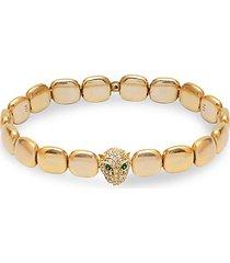 22k goldplated, white & green crystal panther chicklet bracelet