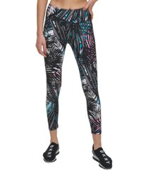 dkny sport tropic shadow printed high-rise 7/8 length leggings