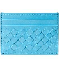 bottega veneta men's intrecciato leather card case - sky blue