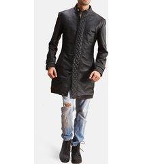 men black leather trench cost, men black leather long coat, mens jackets