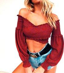 long sleeve crop top for women off shoulder v-neck red blouse shirt t-shirt