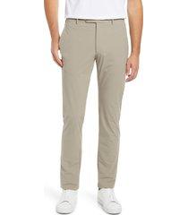 men's zanella men's active stretch flat front pants, size 38 x r - beige