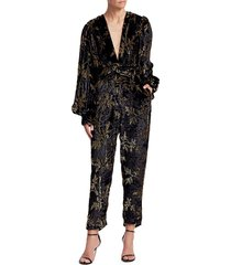 dodo bar or women's anatalya metallic floral velvet jumpsuit - black - size 40 (4)