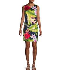 botanical-print sheath dress