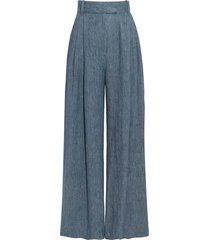 denim blue molly linen wide leg trousers
