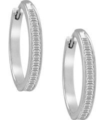 diamond hoop earrings in sterling silver (1 ct. t.w.)