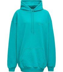 balenciaga turquoise cotton hoodie with logo