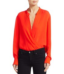 luca draped silk blouse