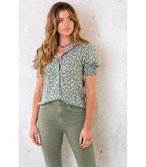 korte mouwen print blouse light army