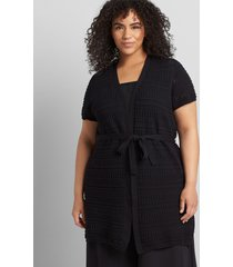 lane bryant women's short-sleeve belted duster overpiece 10/12 black