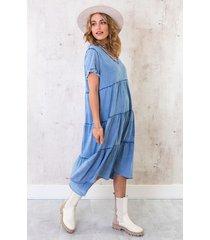 oversized washed jurk denim blue