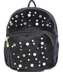 mochila terciopelo perlas negro mailea