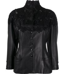 a.n.g.e.l.o. vintage cult 1990s lace panel leather jacket - black