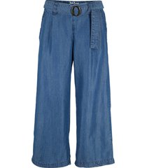 pantaloni culotte di jeans in  tencel™ lyocell, con cintura cucita (blu) - john baner jeanswear