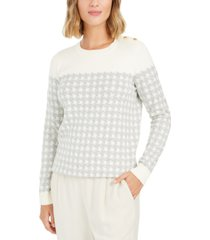 charter club petite houndstooth button-shoulder sweater, created for macy's