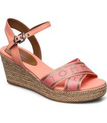 th metallic mid wedge espadrille sandalette med klack espadrilles rosa tommy hilfiger