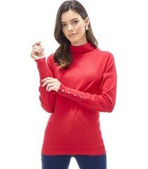 sweater cuello alto mujer rojo oscuro corona