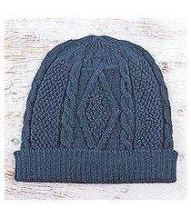 100% alpaca hat, 'azure braid' (peru)