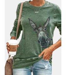 camicetta casual da donna con scollo a cuore manica lunga asino del fumetto