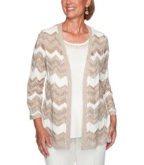 alfred dunner petite dover cliffs chevron pointelle two-for-one sweater