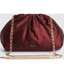 reiss ellena - satin pouch clutch in plum, womens