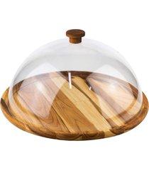 boleira de madeira woodart teca com tampa em acrílico madeira