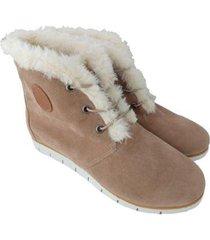 ankle boot de pelo sapatoweb camurça feminino - feminino