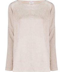 brunello cucinelli suede panelled pullover jumper - neutrals