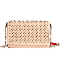 christian louboutin paloma spiked calfskin leather clutch -