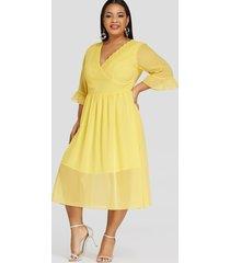 plus tamaño amarillo crochet lace bell sleeves cordón cintura vestido