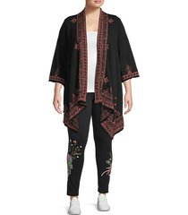 plus eyal embroidered cotton cardigan