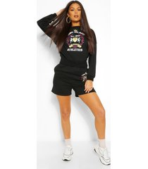'long island' tie back sweater & shorts co-ord, black