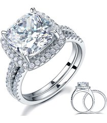 5 carat cushion cut created diamond wedding ring set 925 sterling silver jewelry