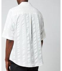 holzweiler men's blyg short sleeve shirt - ecru stripe - m