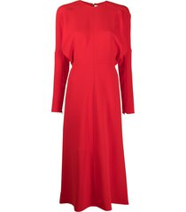 victoria beckham dolman-sleeve midi dress - red