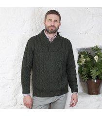 men's v-neck one button aran sweater dark green medium