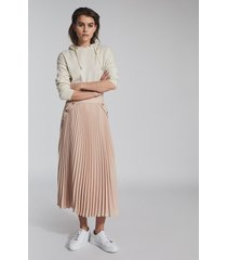 reiss lina - pleated mini skirt in nude, womens, size 14