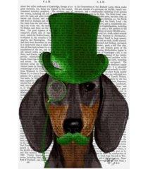 "fab funky dachshund with green top hat, black tan canvas art - 19.5"" x 26"""