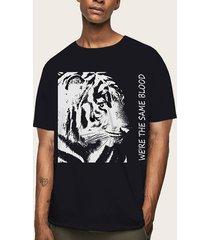 hombres verano casual soft tiger animal print t-shirt